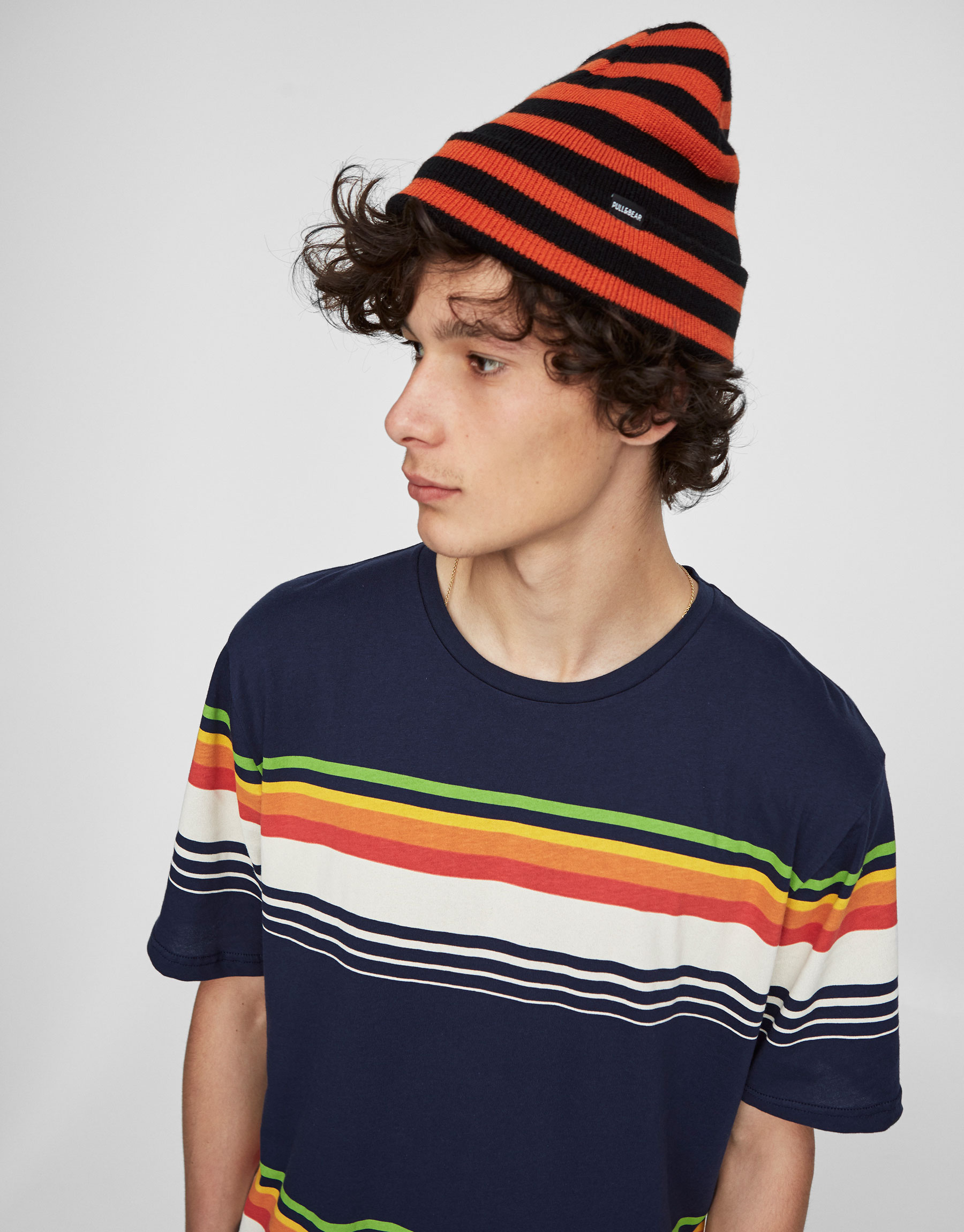 T-shirt with coloured stripes on the front