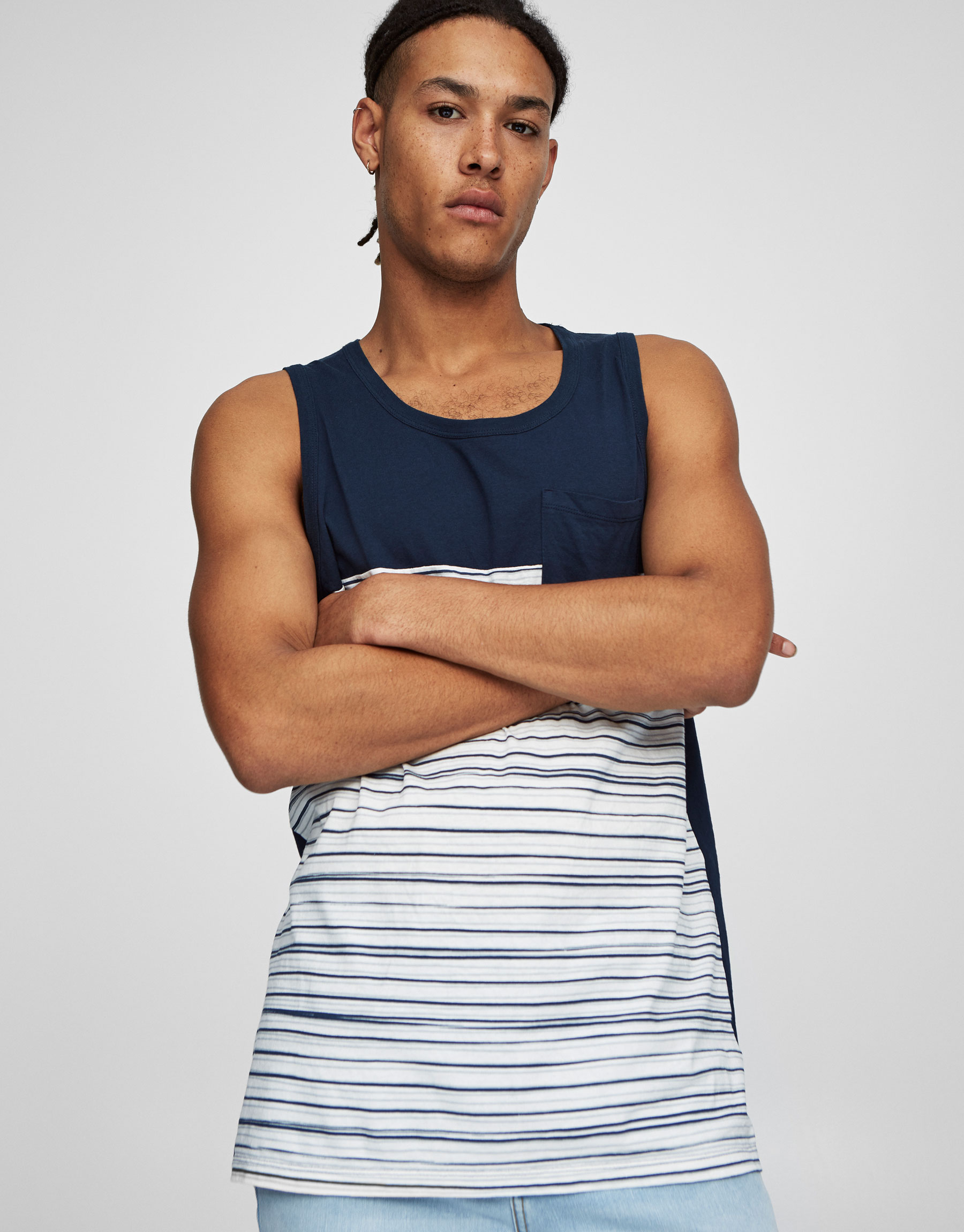 Striped panels tank top with breast pocket