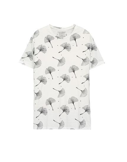Leaf-print T-shirt