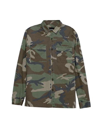 Long sleeve camouflage utility shirt