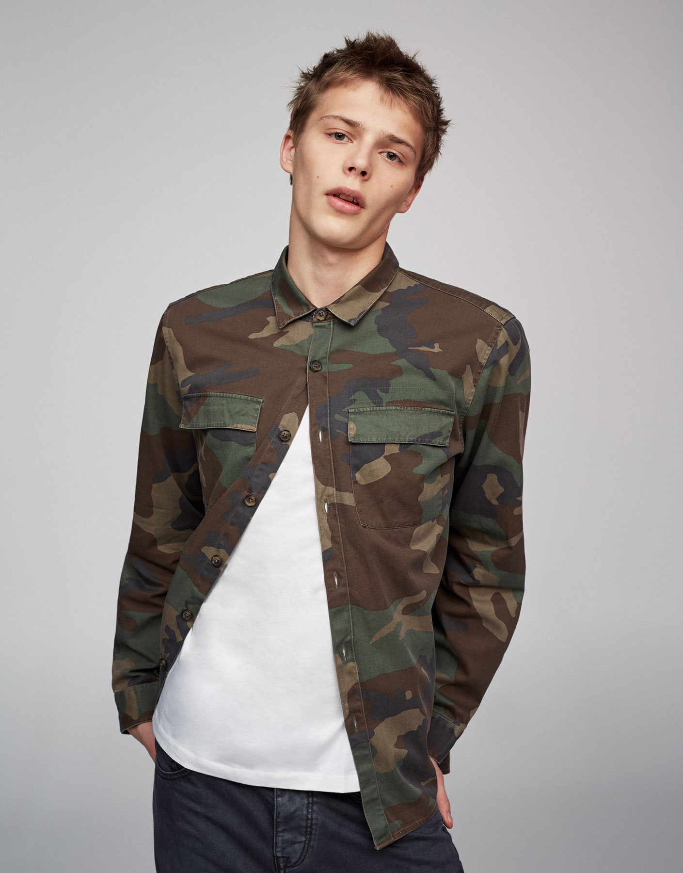 Long sleeve camouflage utility shirt