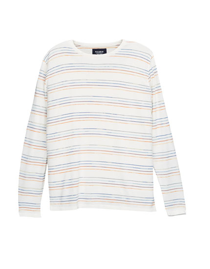 Multicoloured stripes sweater with round neck