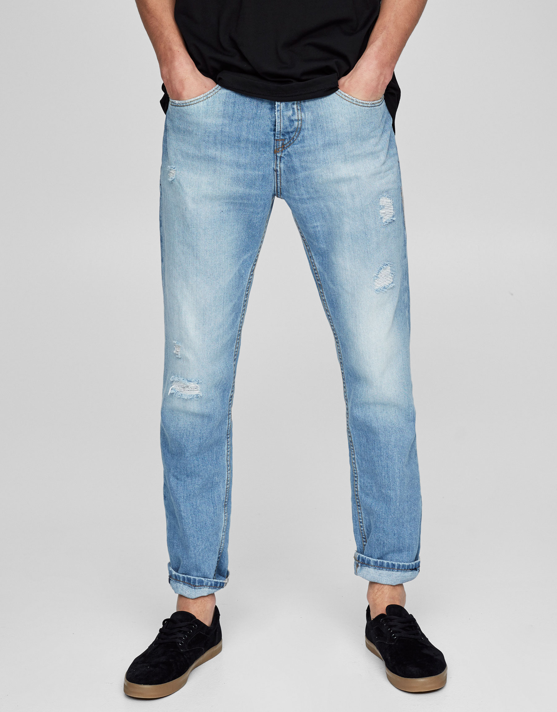 Regular-Fit-Jeans mit Schlitzen
