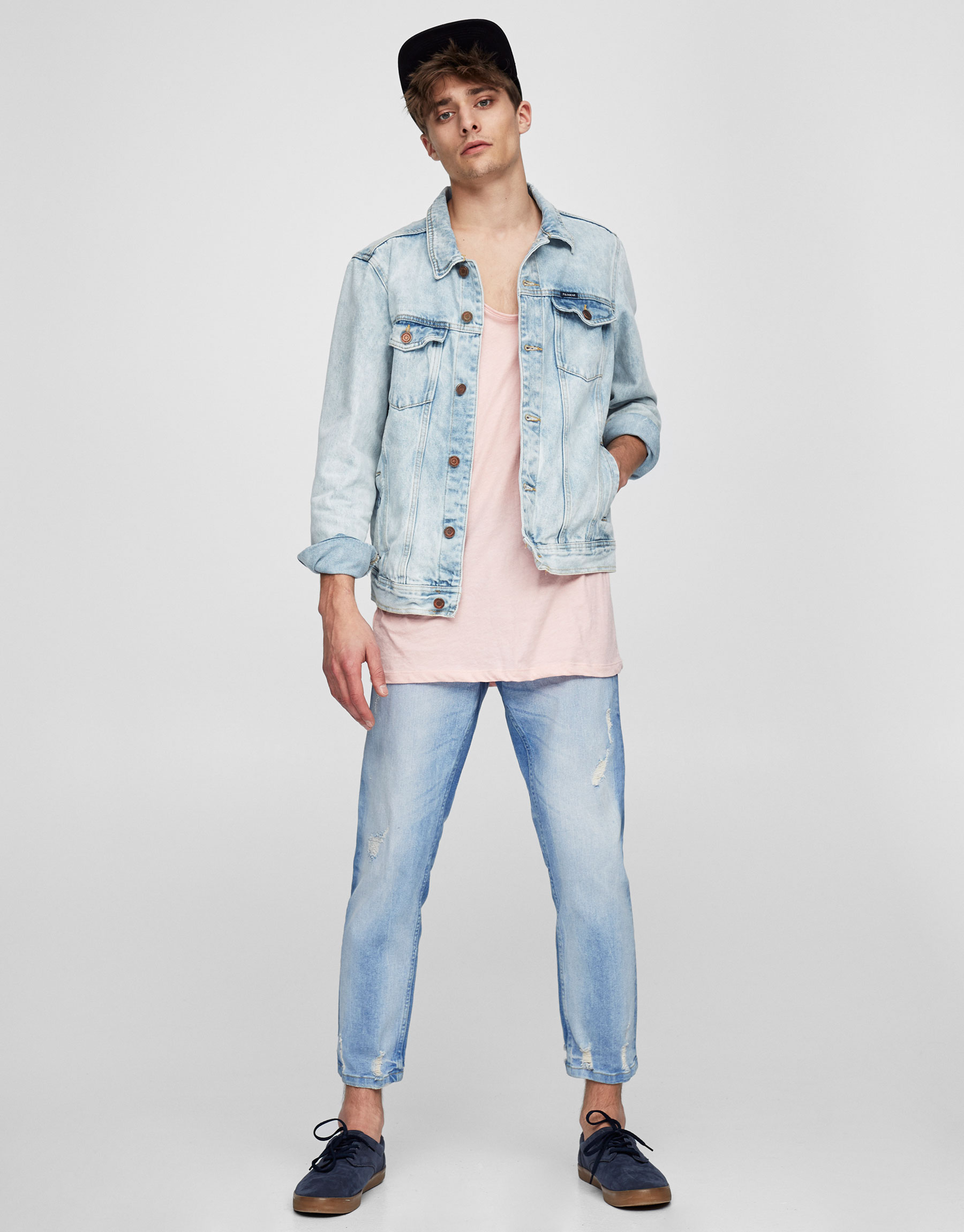 Slim fit premium ripped faded blue jeans