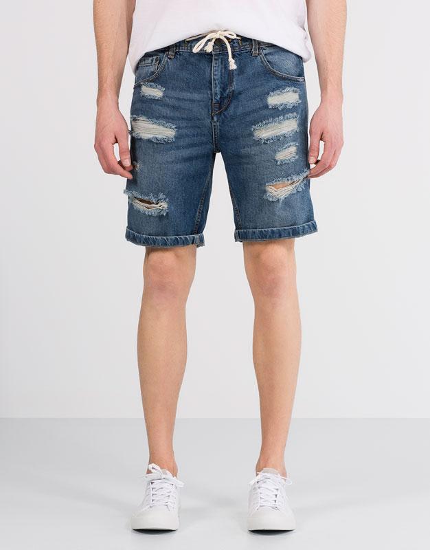 Denim bermuda shorts with cord
