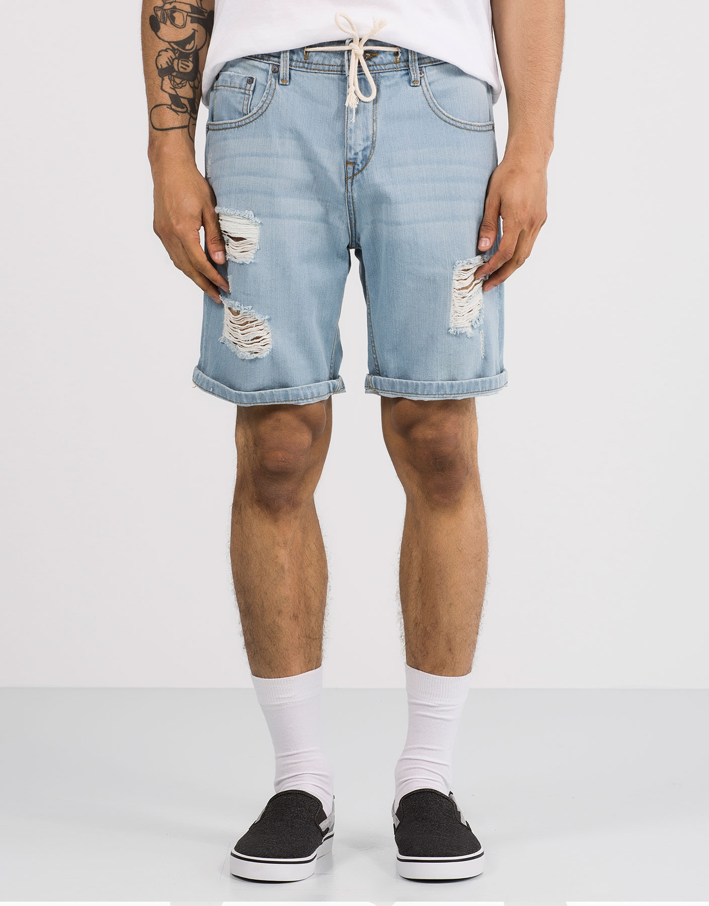 Bleached denim bermuda shorts