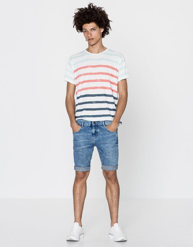 Denim skinny fit bermuda shorts