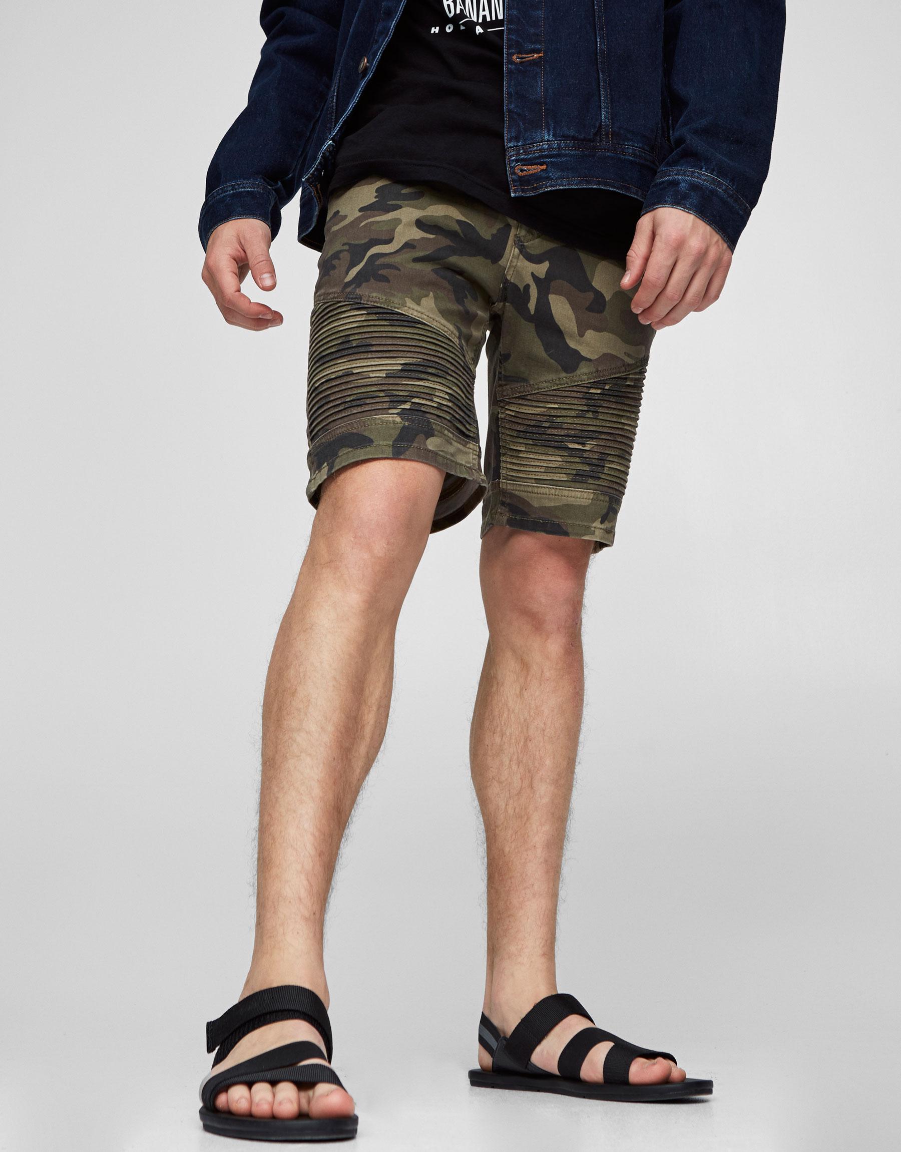 Camouflage biker Bermuda shorts