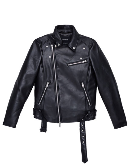 Biker jacket with diagonal zip