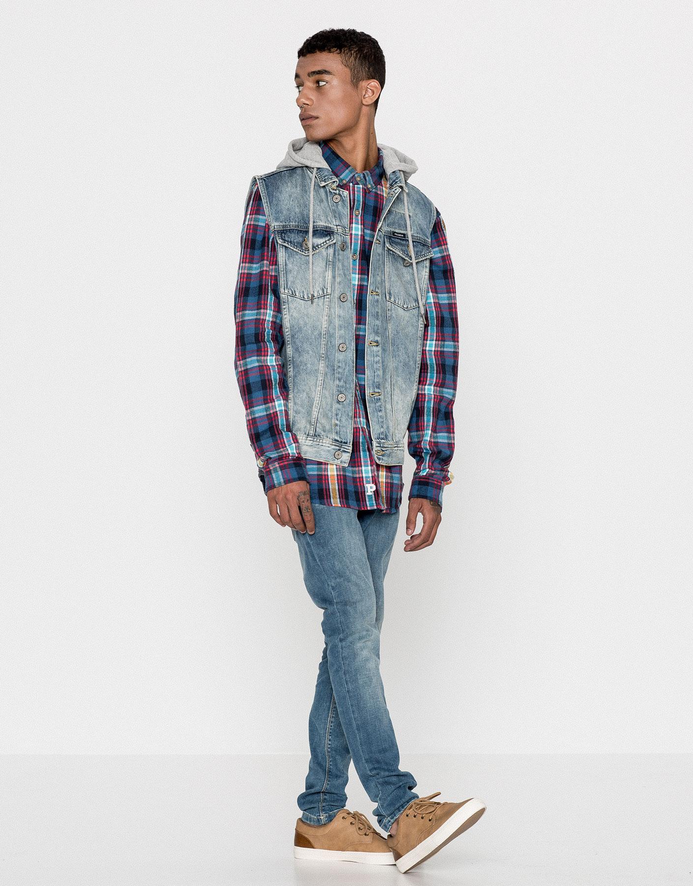 Denim waistcoat with piqué hood