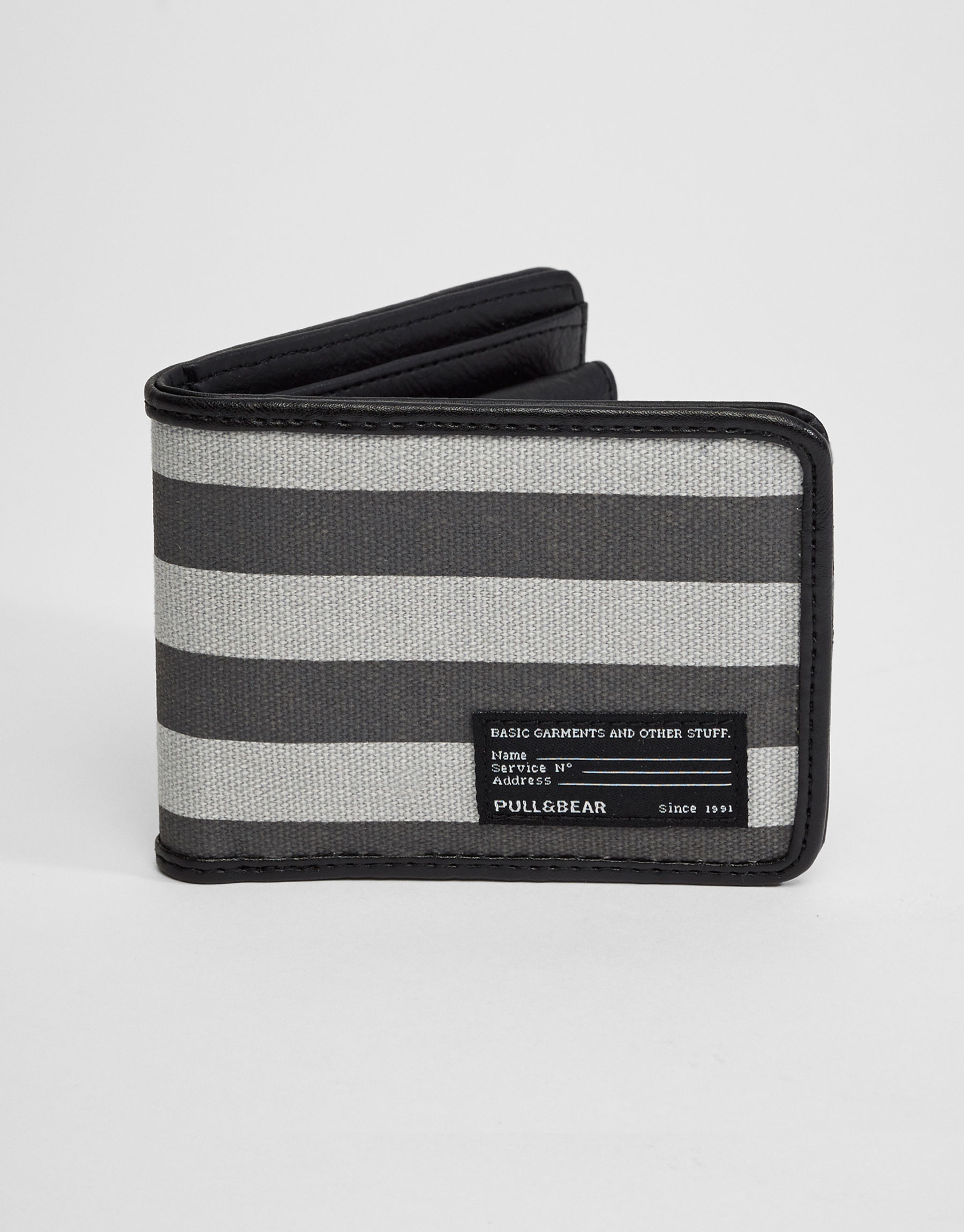 Striped wallet with label