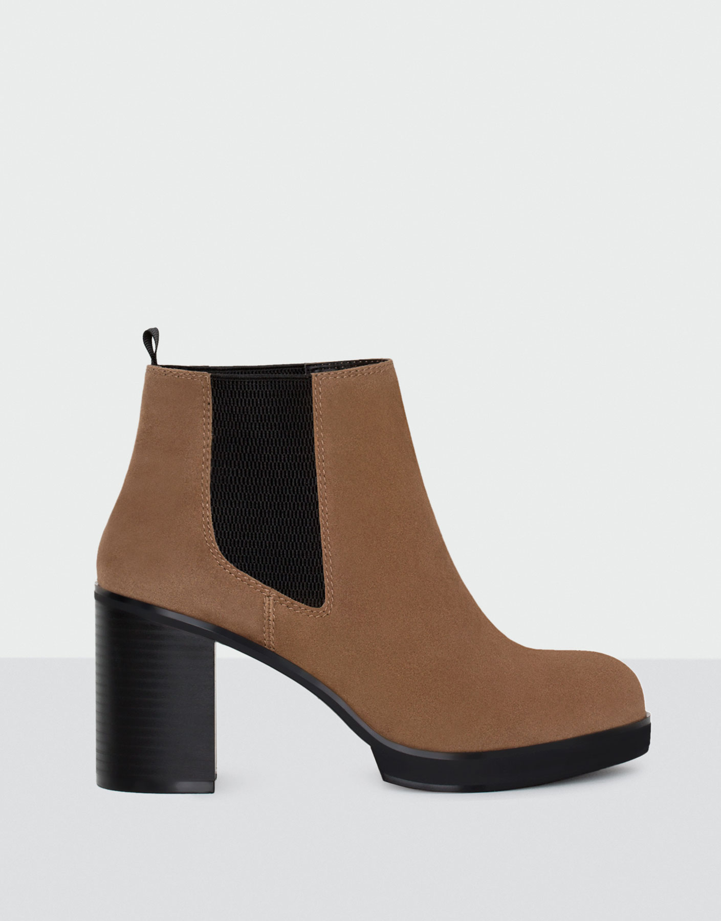 Contrast stretch high heel ankle boots