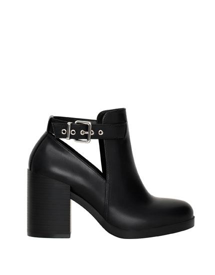 High heel openwork ankle boots