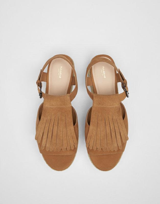 Chaussure compensée flatform jute