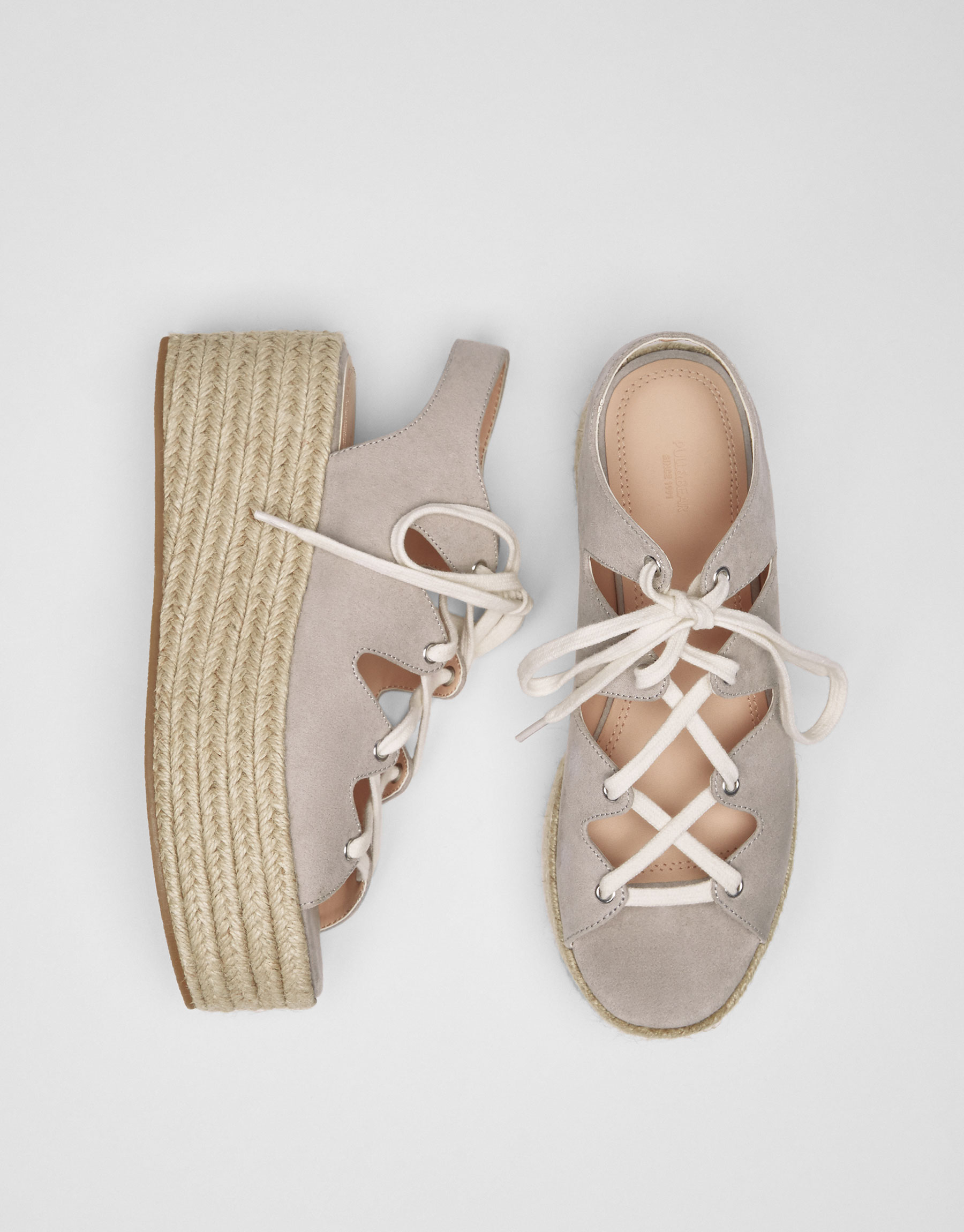 Grey lace-up jute wedges