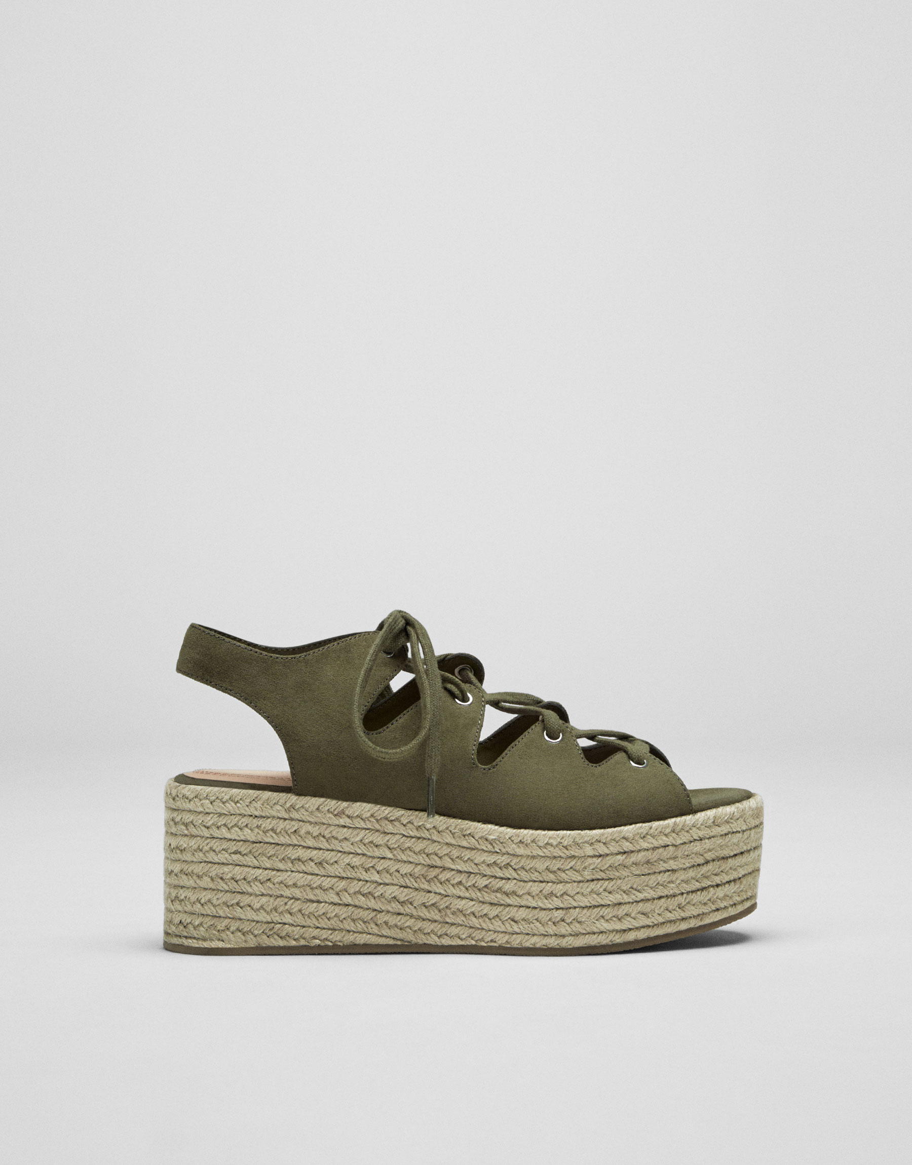 Green lace-up jute wedges