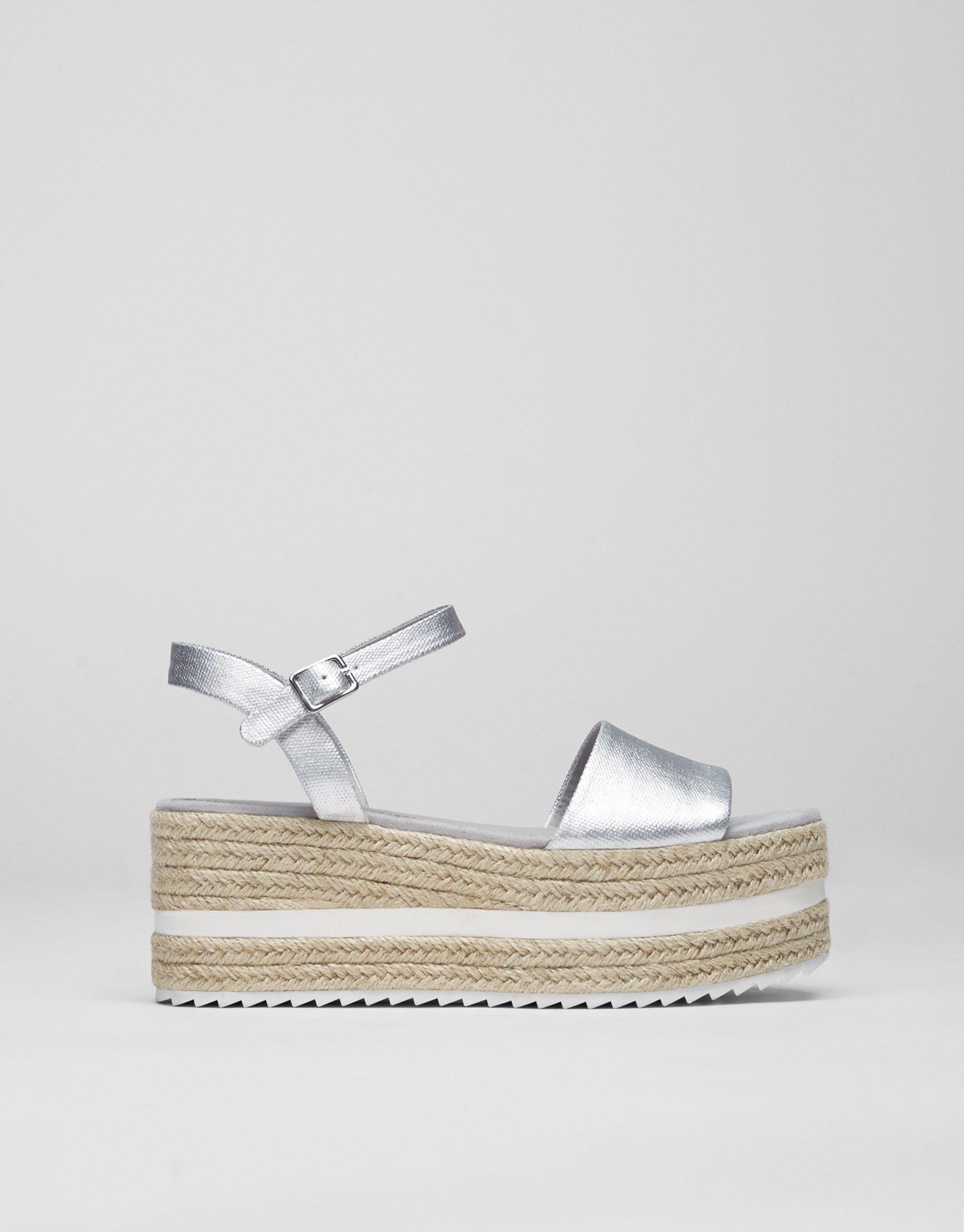 Silver-toned wedges with ankle strap