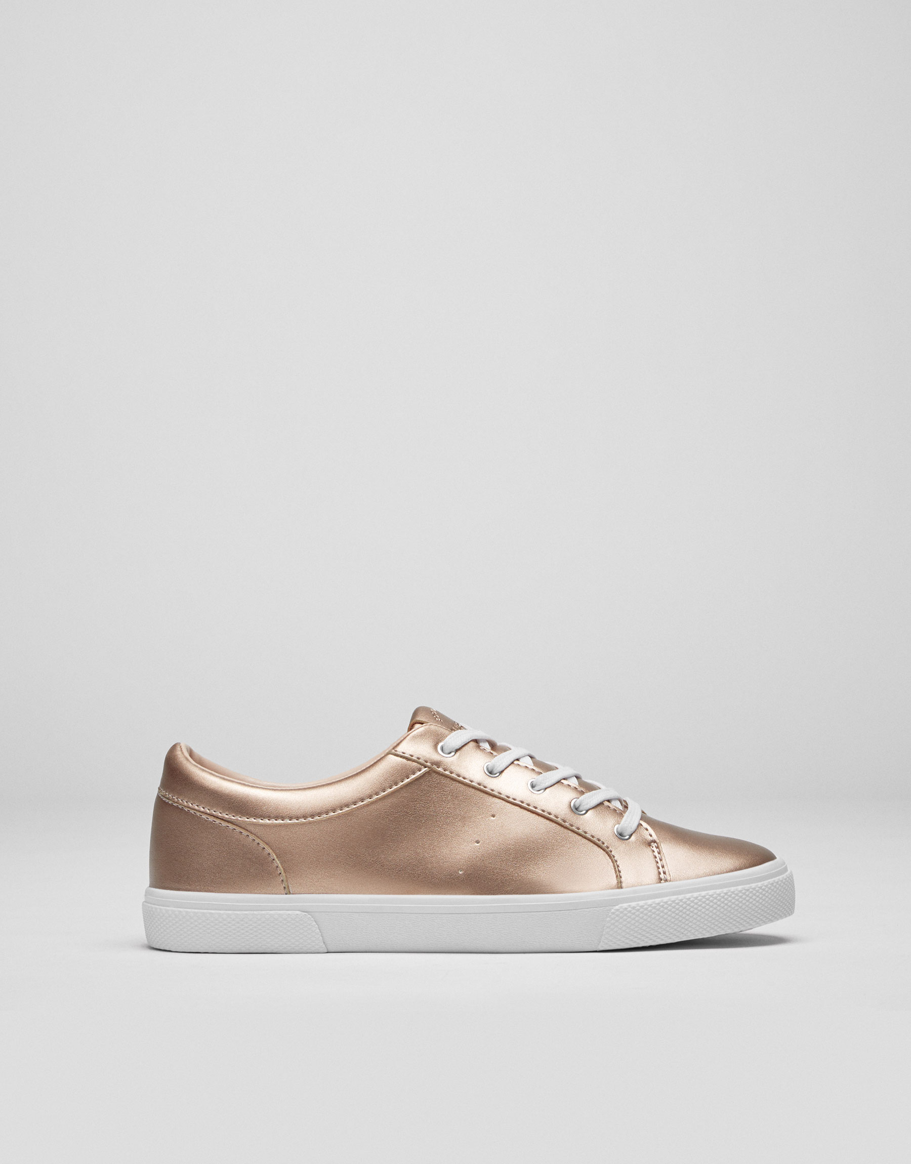 Basic-Sportschuhe in Rosa mit Metallic-Finish