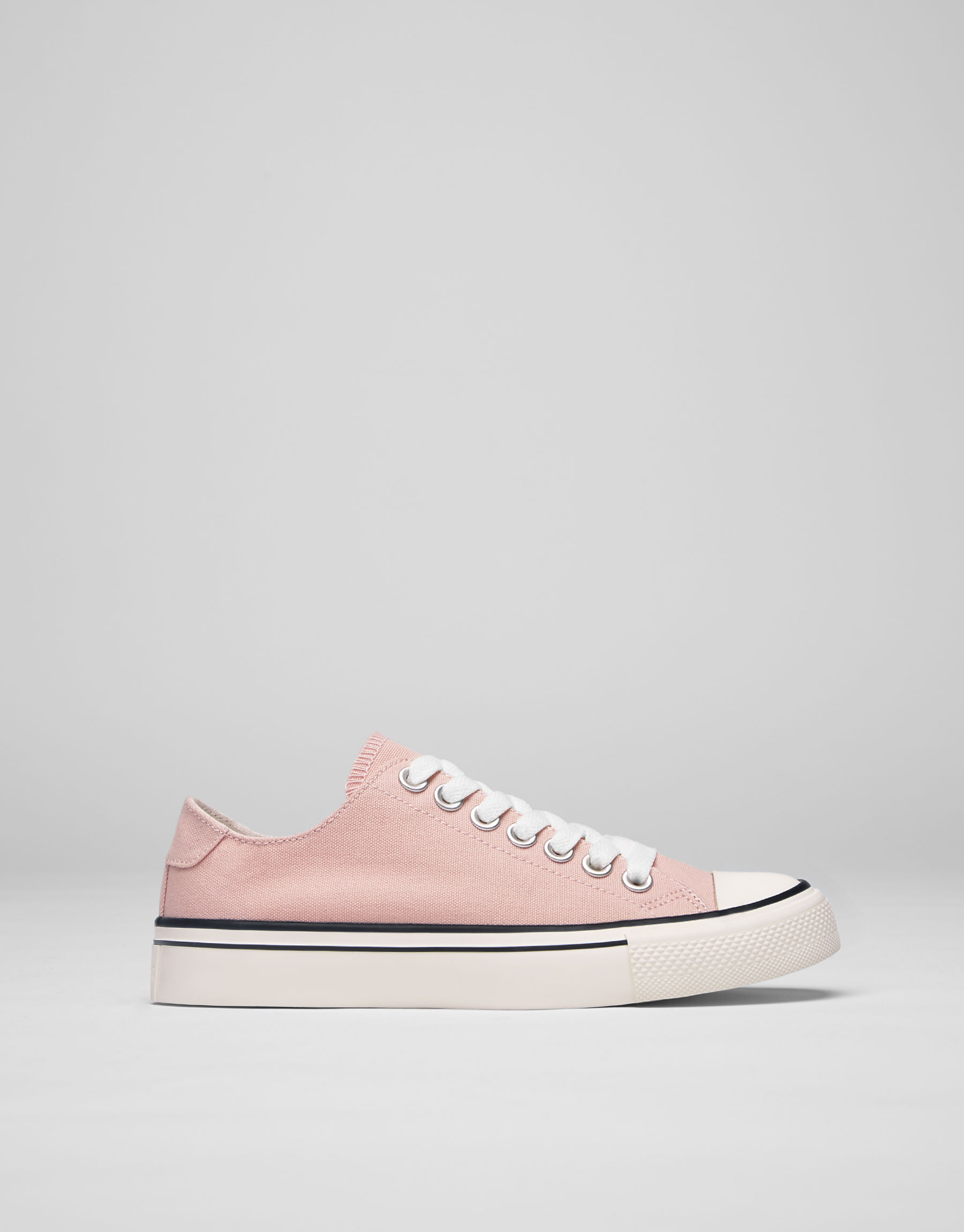 Pink fabric plimsolls with toe cap