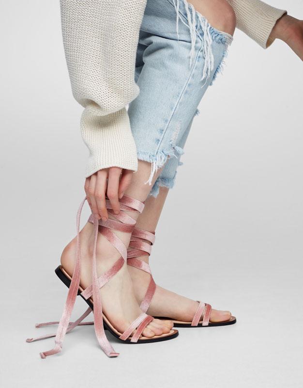 Sandalia moda velvet rosa
