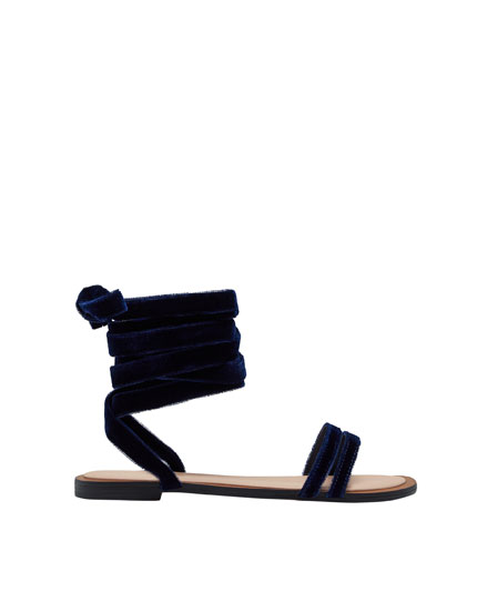 Blue velvet fashion sandals