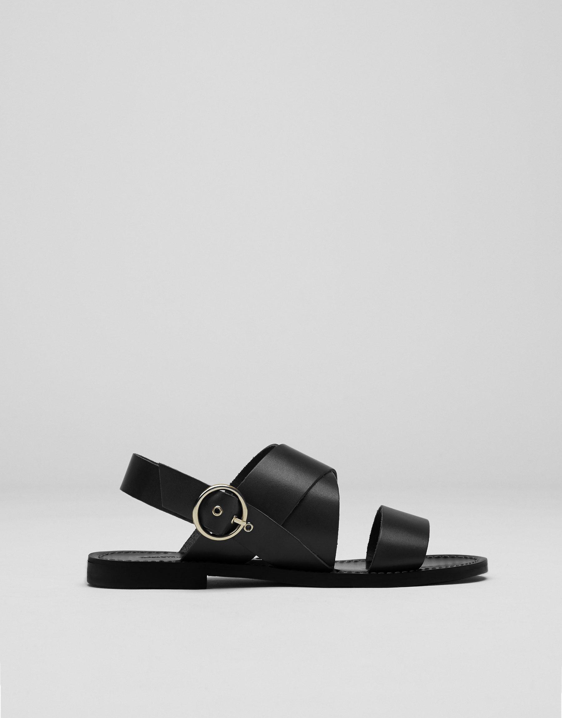 Zwarte zachte leren sandaal