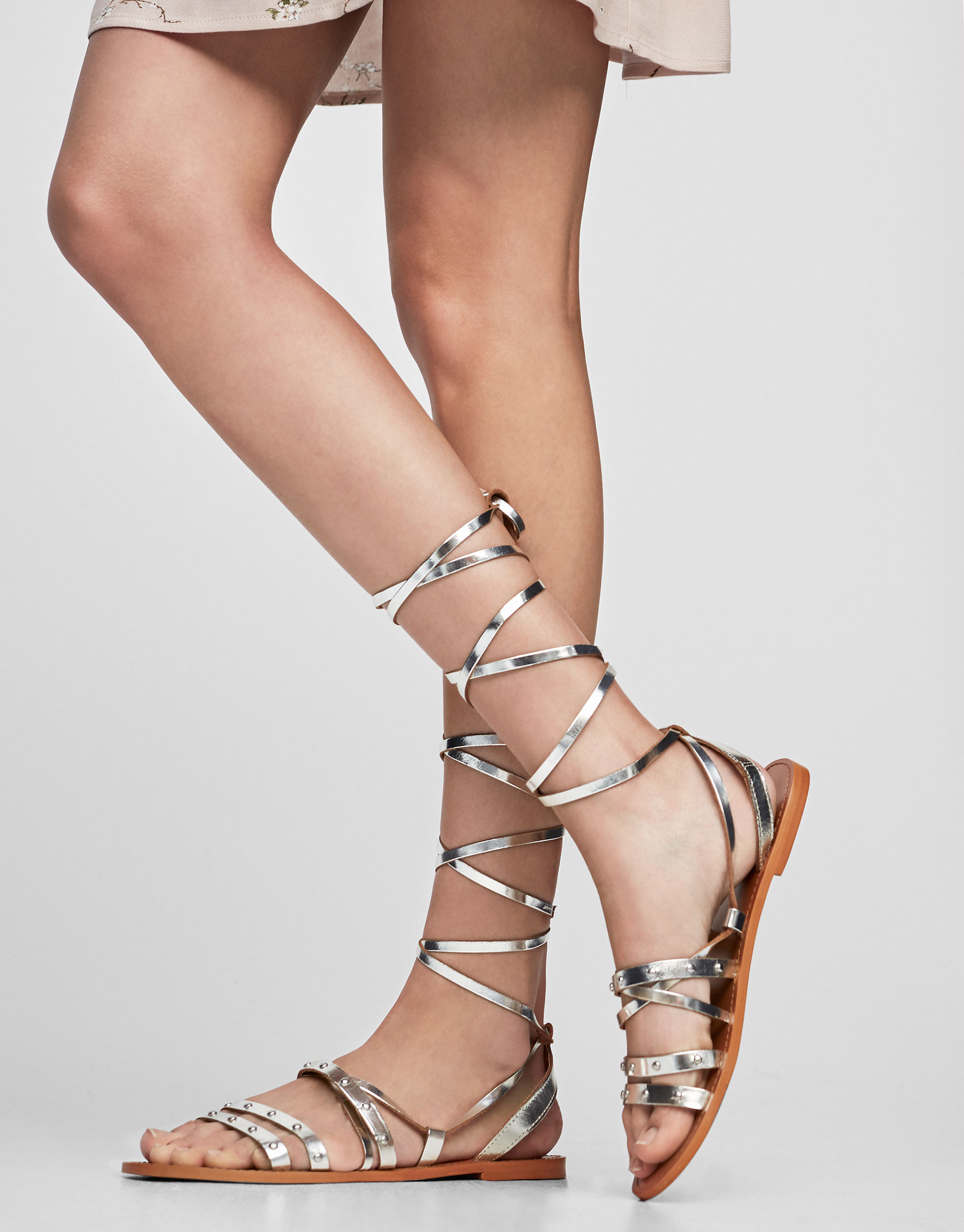 Silver-toned leather sandal with studs
