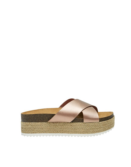 Chunky sole crossover sandals