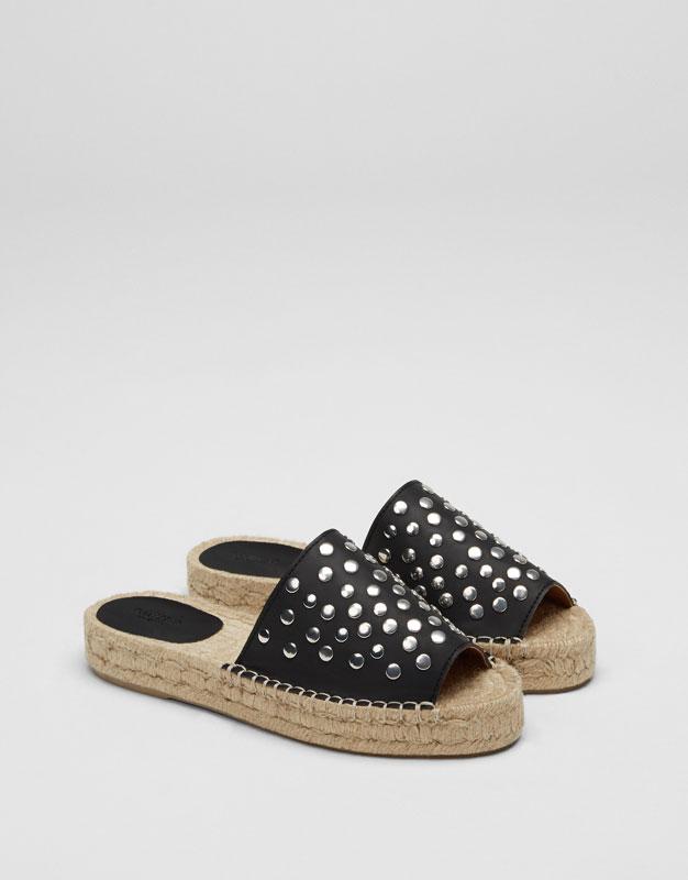 Sandale jute clous noire