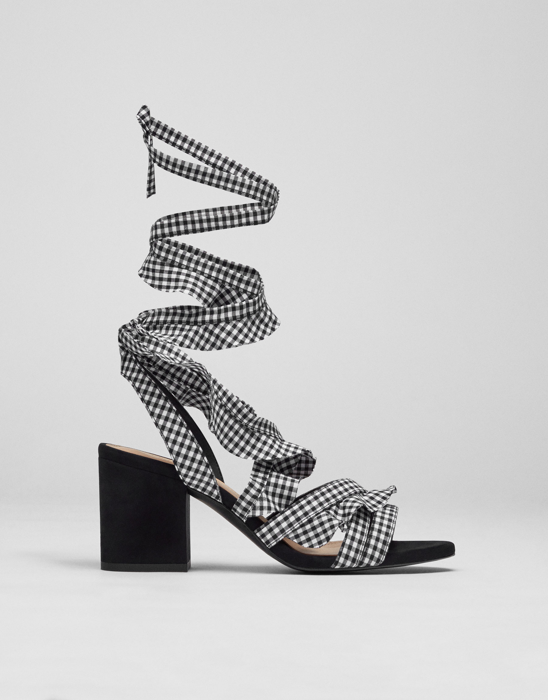 Checked lace-up sandals