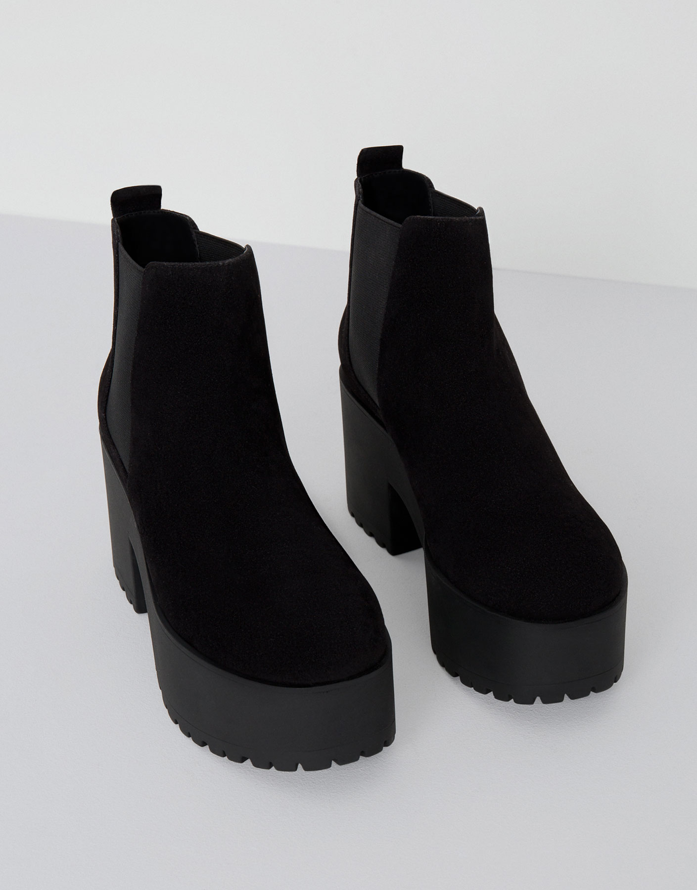 Black ankle boots with block high heels