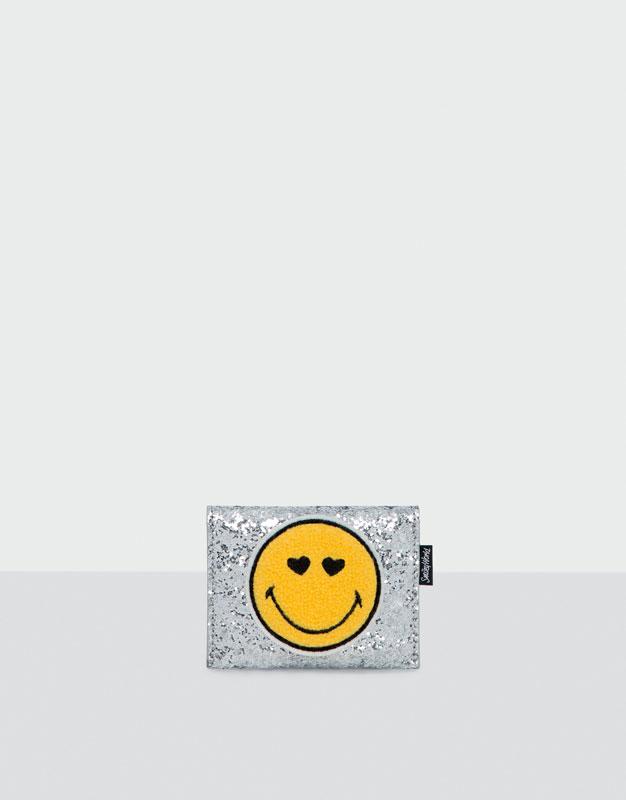 Tarjetero Smiley fantasía plateado
