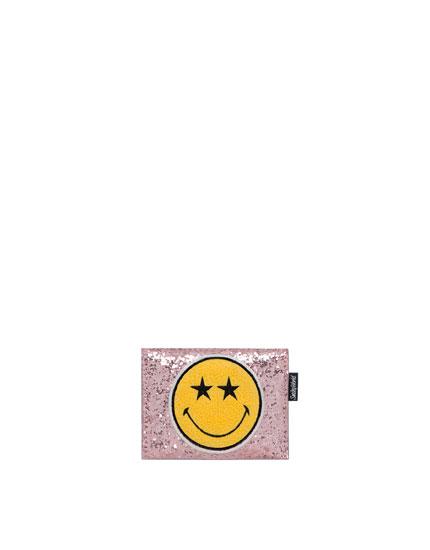 Kartentasche mit Smiley und Muster in Rosa