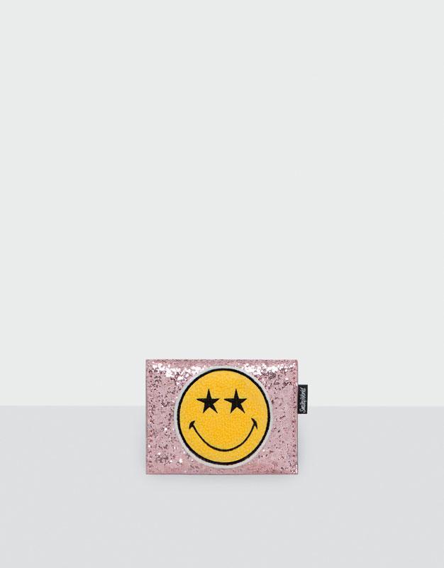 Pink Smiley Face card holder