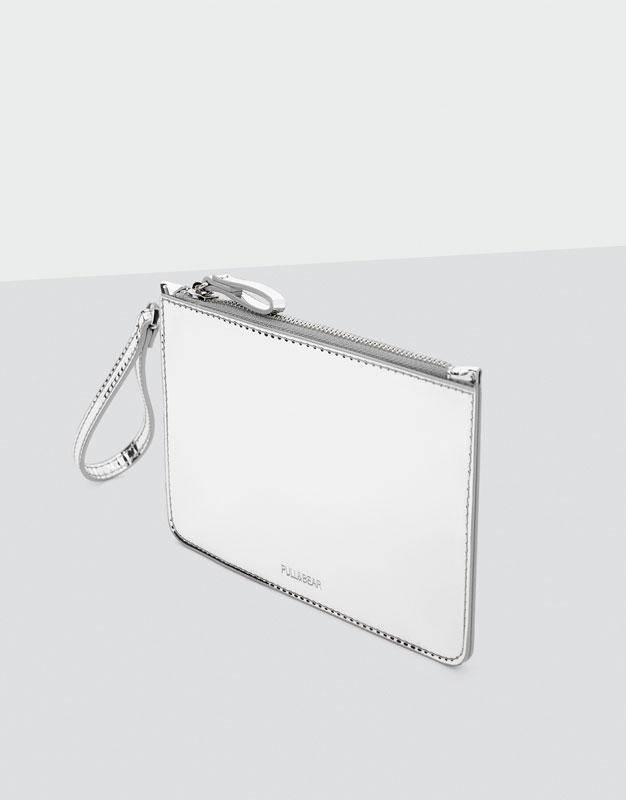 Metallic silver coin purse
