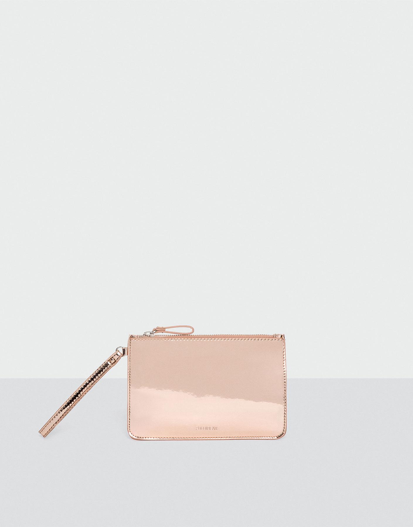 Roze metallic portemonnee
