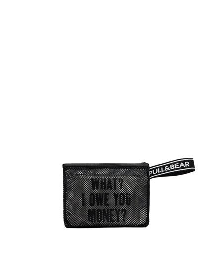 Slogan mesh toiletry bag