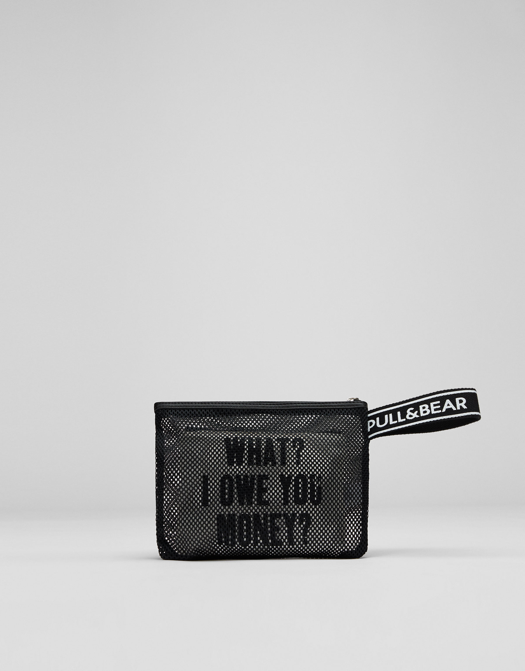 Slogan mesh toiletry bag