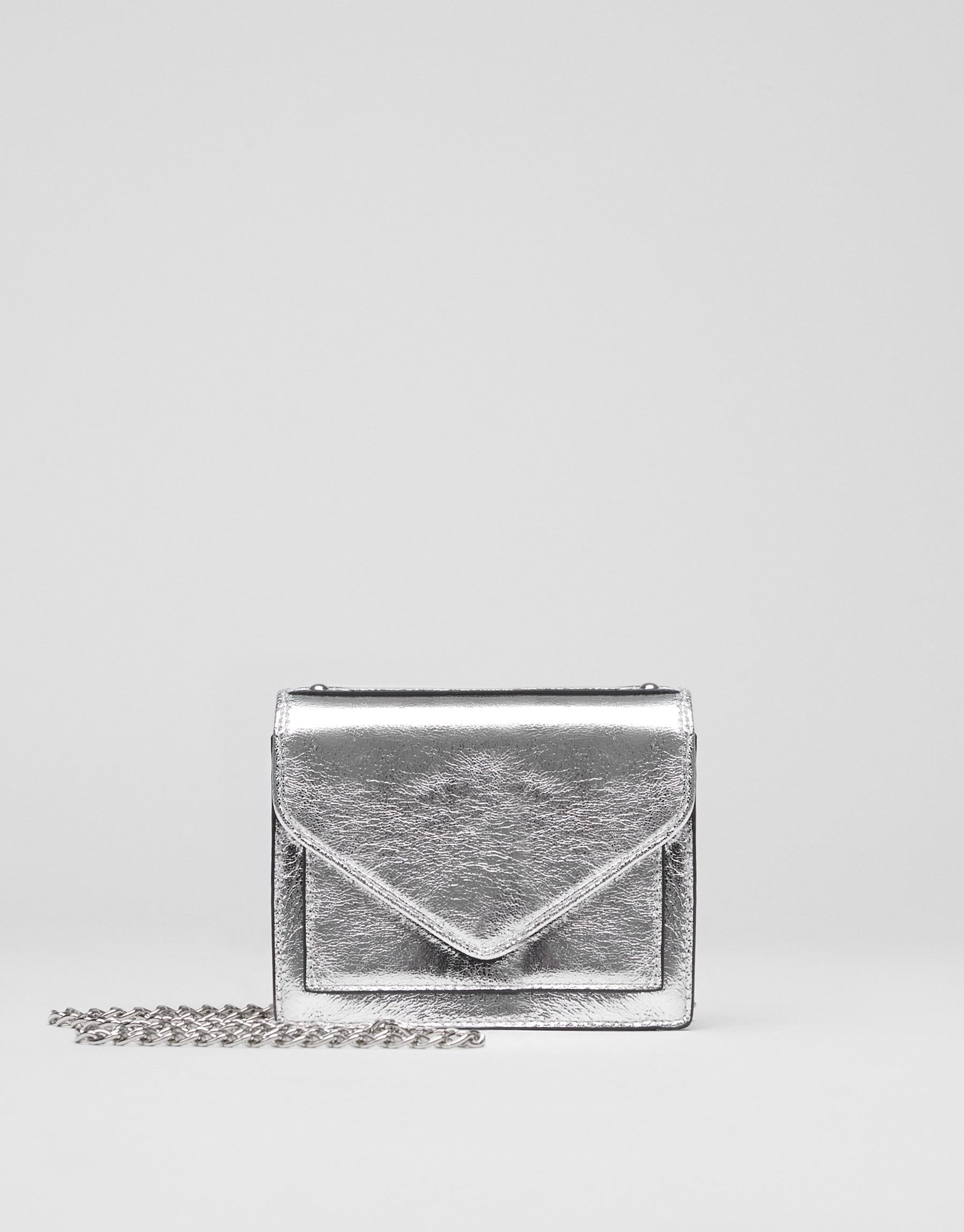 Mini silver evening crossbody bag