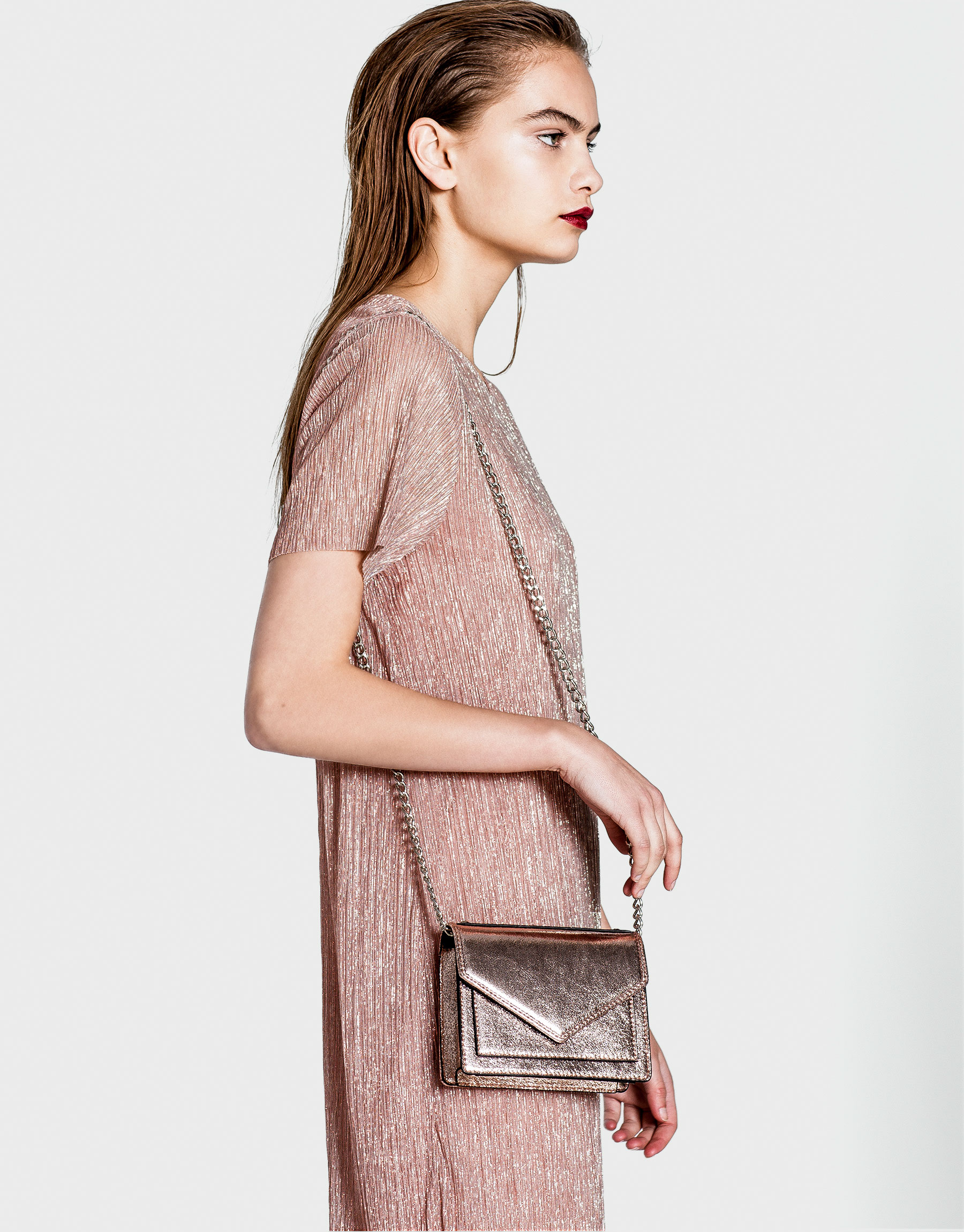 Mini pink evening crossbody bag