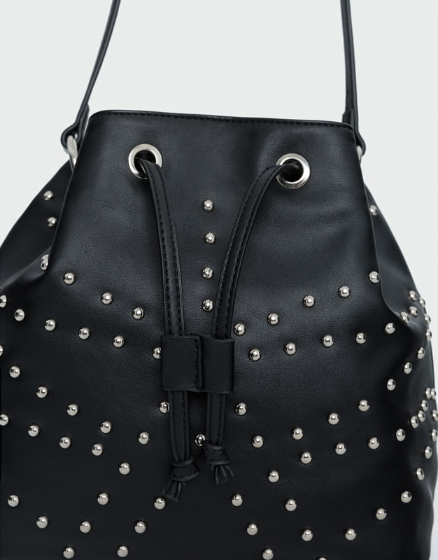 Studded detail bucket bag