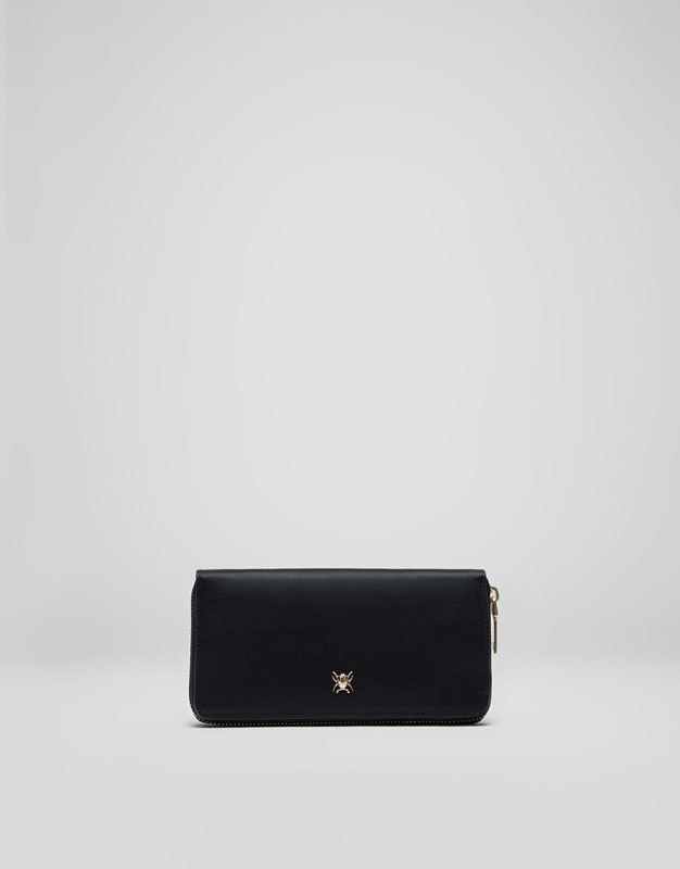Black insect detail wallet
