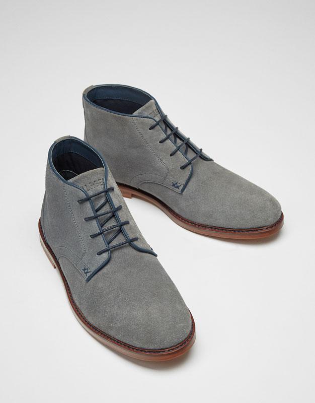 Premium split suede ankle boots