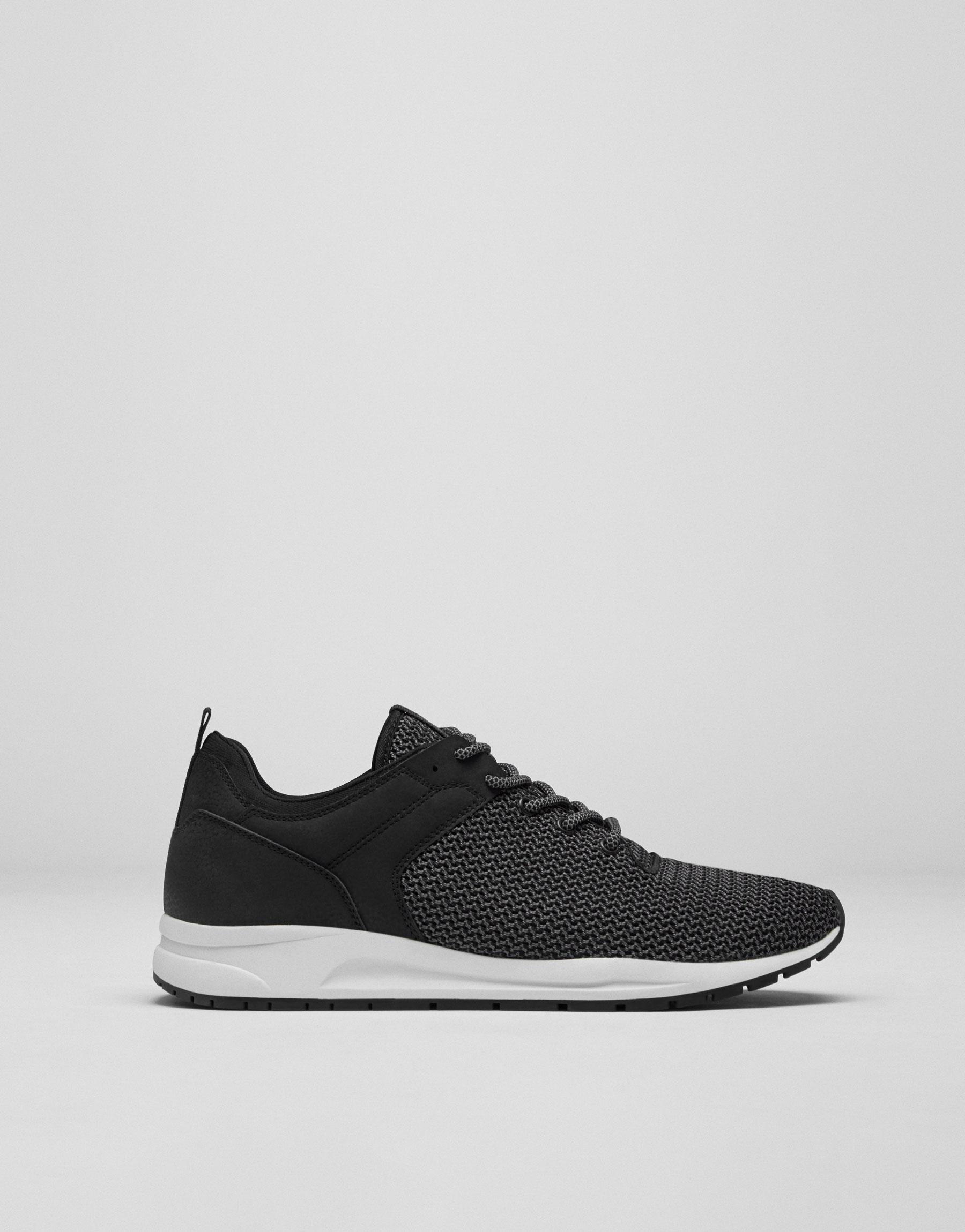 Contrasting grey mesh sneakers