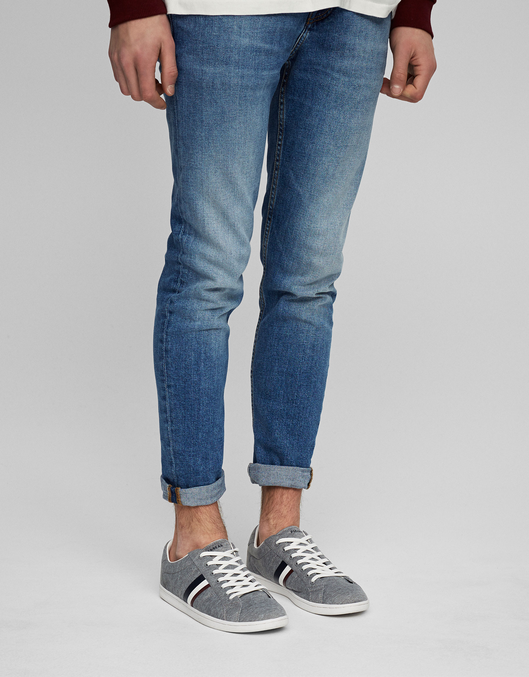 Marl semi-sporty sneakers with stripe