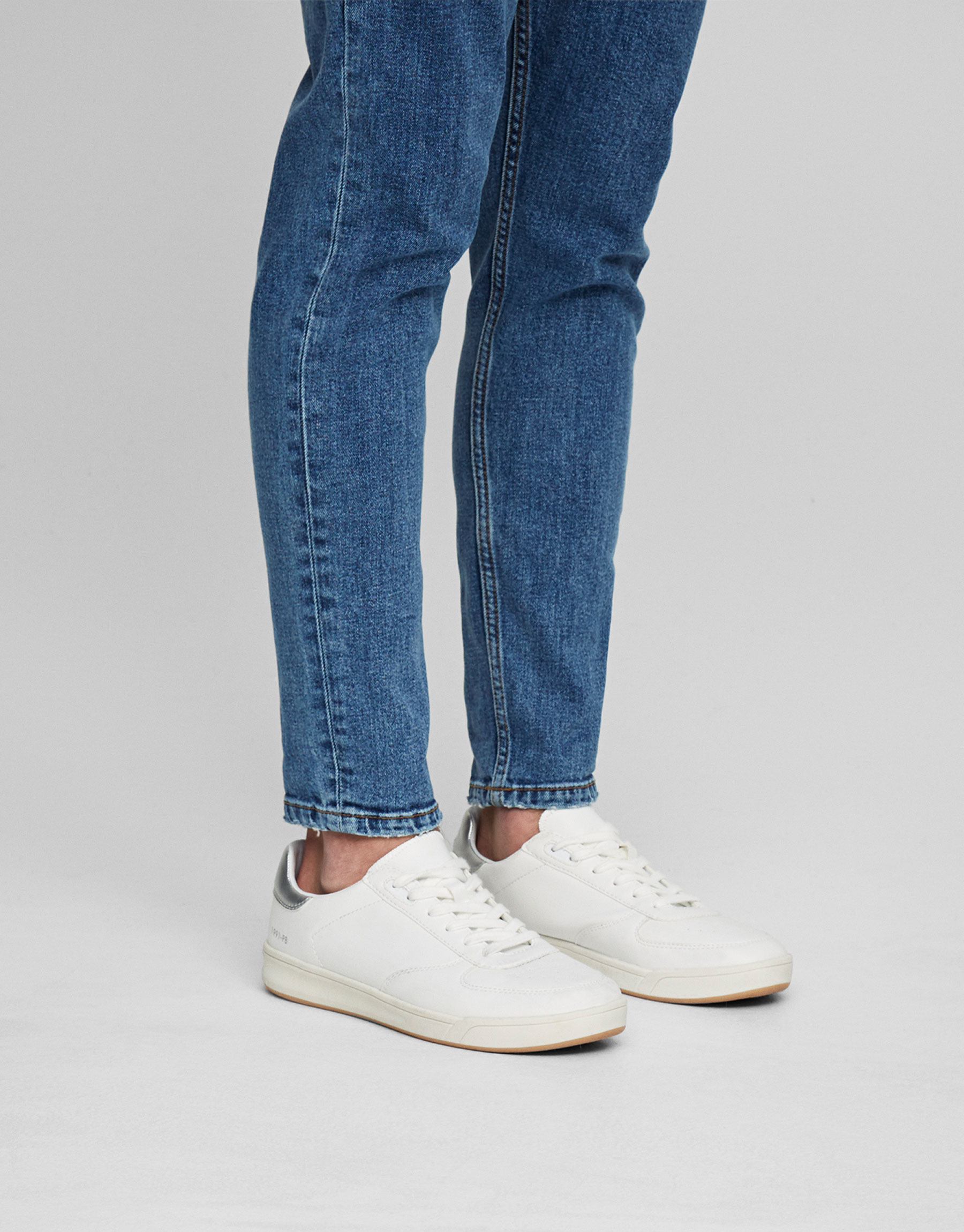 Plimsolls with silver-toned detail