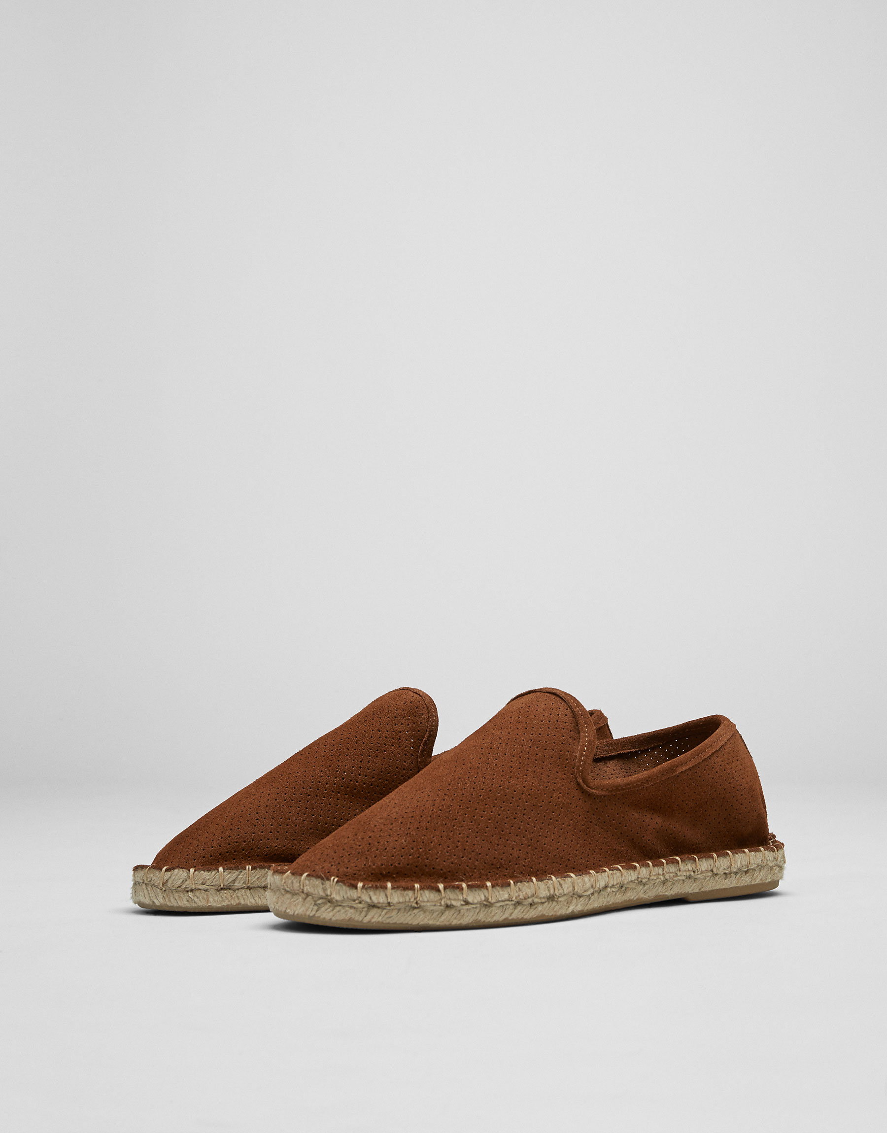 Jute and split suede slippers with broguing