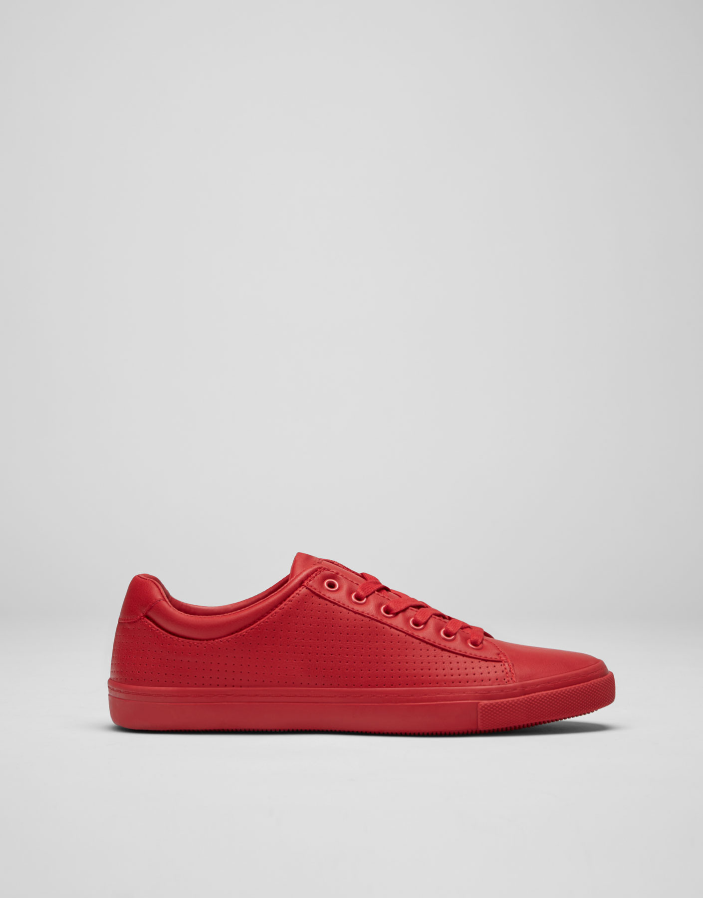 Red colour block plimsolls with brogueing