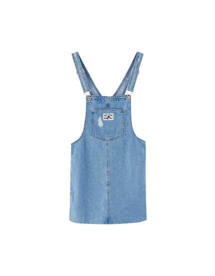 Pantín Classic denim pinafore dress with unfinished hem