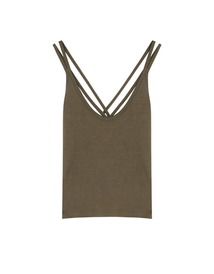 T-shirt with criss-cross straps